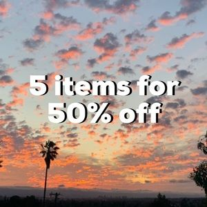 5+ items for 50% off